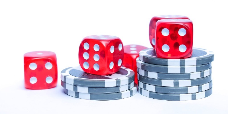 Craps dice and casino chips