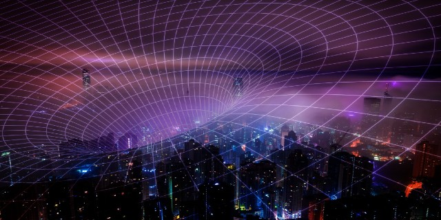 An invisible net stretches out over a city showing a wide-reaching network.