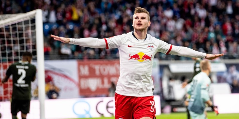 Timo Werner celebrates scoring against Mainz in November