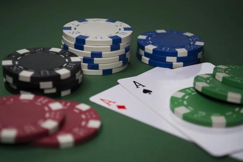 Blackjack chips and cards.