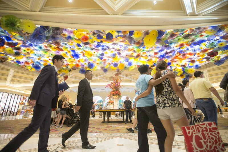 One of many exhibits in the Bellagio Art Collection is the Chihuly Fiori de Como glass sculpture that stands in the lobby of the resort.