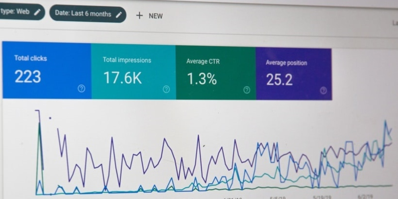 a screen shows metrics of SEO performance from a campaign