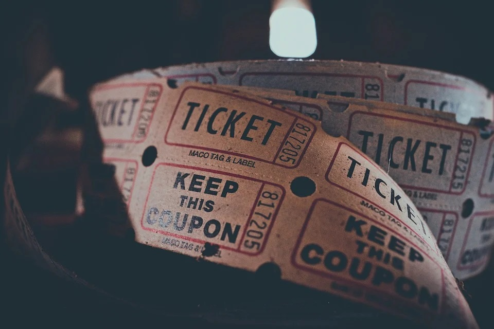 A strip of movie tickets