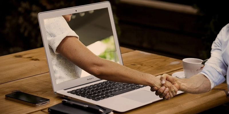 Håndhilsning dataskjerm