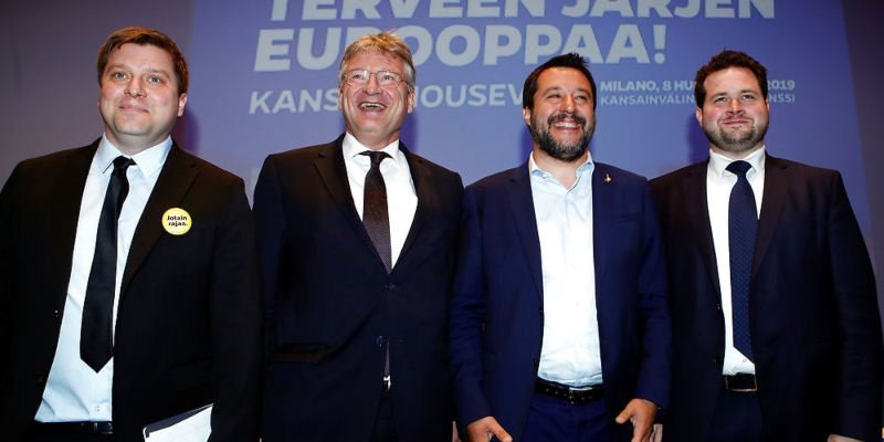 Olli Kotro (True Finns), Jorg Meuthen (AFD), Matteo Salvini (League) and Anders Vistisen (DF) EU '19 parliament collaboration