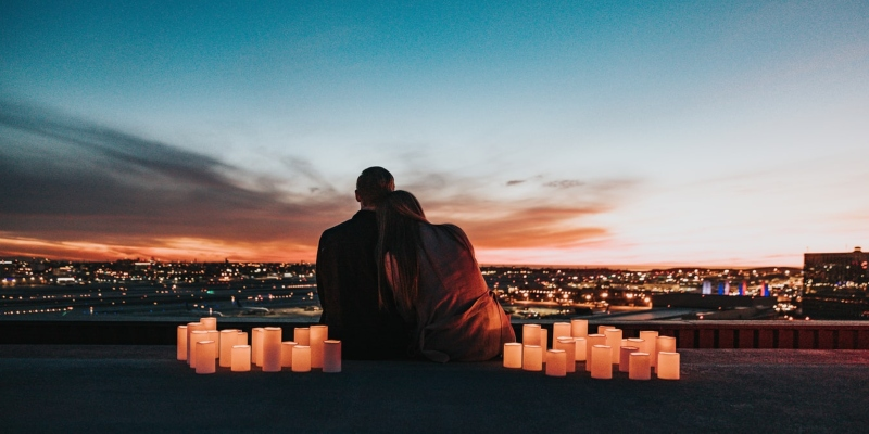 Candlelit proposal with a Los Angeles view