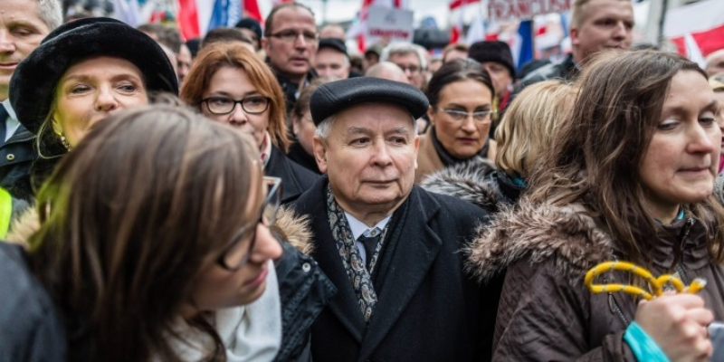 Jaroslaw Kaczynski, PiS leader, participates in a pro-government demo on December 13, 2015 in Warsaw
