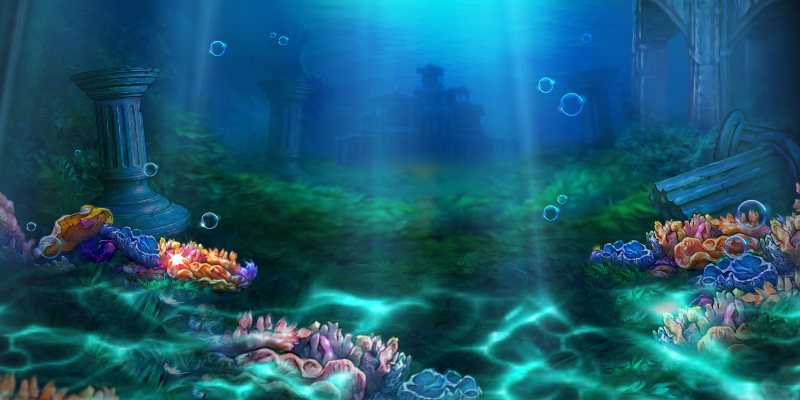 Atlantean Treasures Mega Moolah background art; Spin Palace Blog