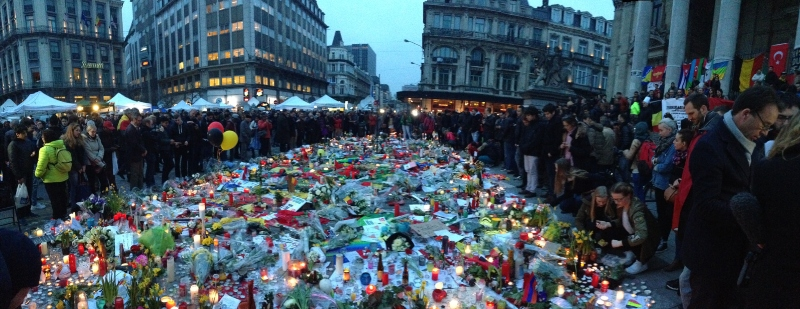A memorial after the attack in Brussels; Spin Palace Blog