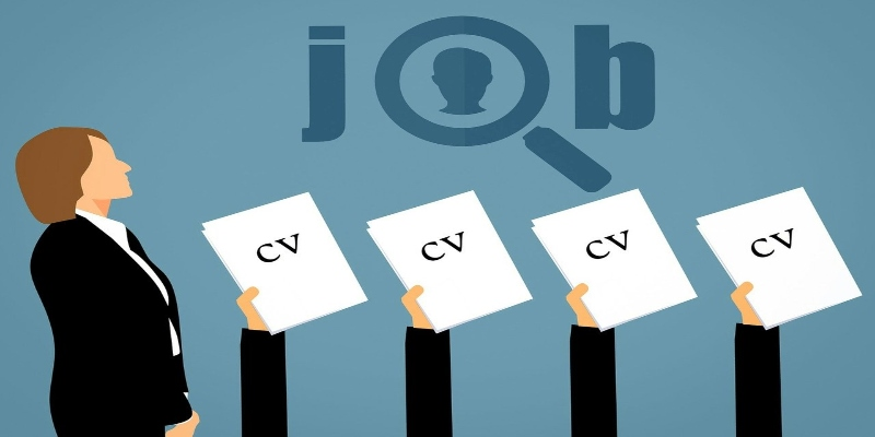 """woman looking up at the word """"job"""", with hands holding CVs lifting below - Spin Palace Blog"""