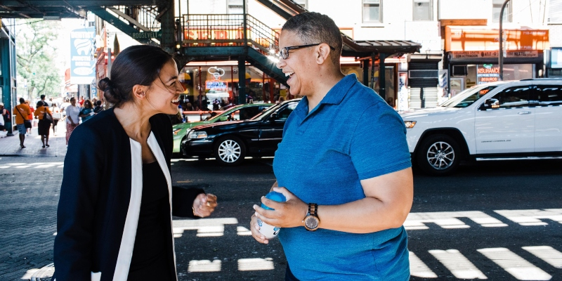 Alexandria Ocasio-Cortez speaking with Kerri Evelyn Harris in New York: Spin Palace Blog