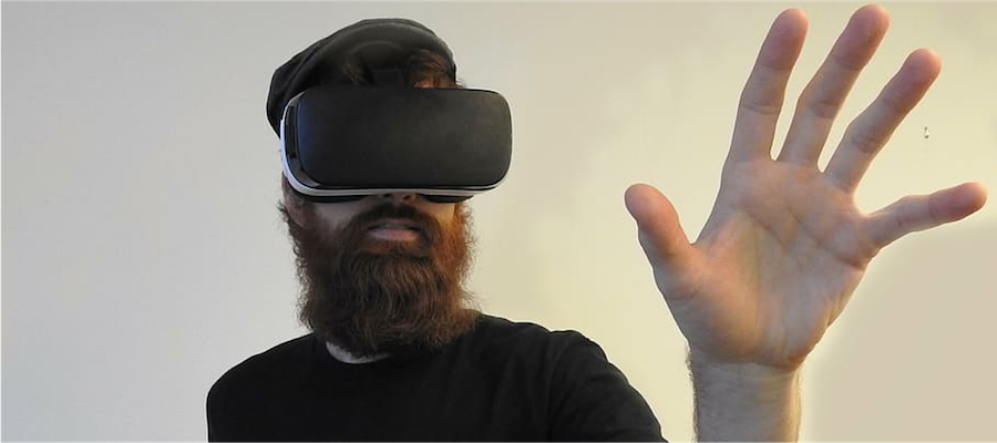 A man using a VR headset