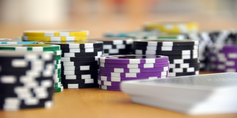 Colourful poker chips