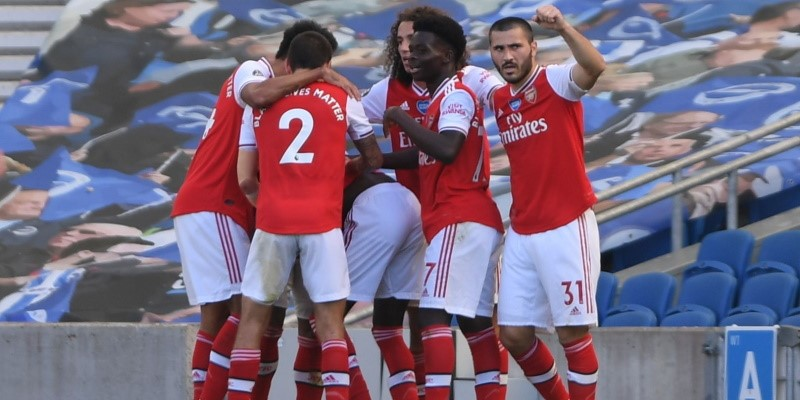 Arsenal players in celebration at Brighton