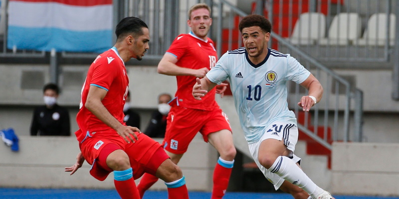 Scotland's Che Adams in action in a pre-Euro 2020 friendly against Luxembourg