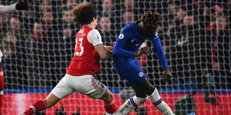 Arsenal's David Luiz challenges Chelsea striker Tammy Abraham