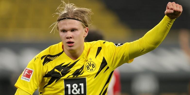 Borussia Dortmund striker Erling Braut Haaland celebrates a goal