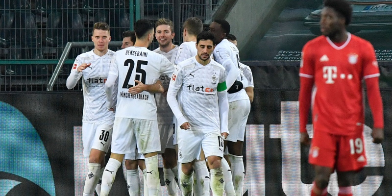 Gladbach celebrate during their win over Bayern in January