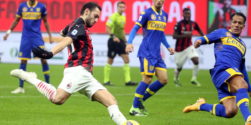 Hakan Calhanoglu takes a shot at goal in the December game between Milan and Parma; Spin Sports Blog