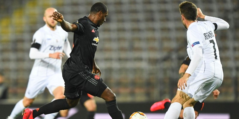 Odion Ighalo scores for Manchester United in the first leg