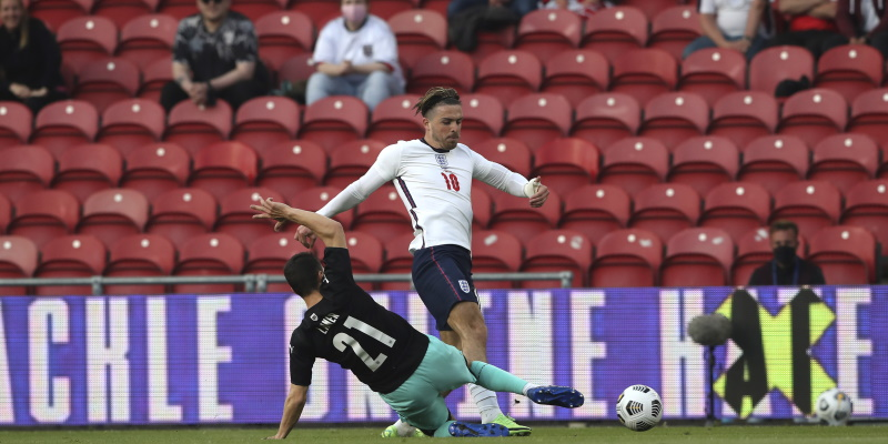 Jack Grealish in action in England's friendly win over Austria