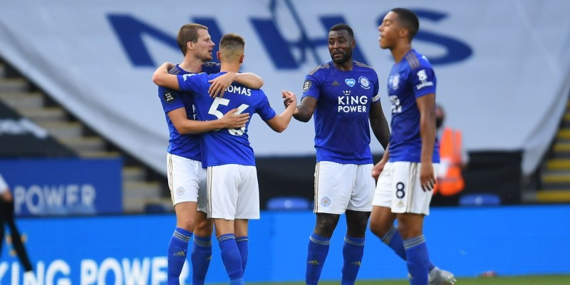 Leicester players celebrate their win over Sheffield United