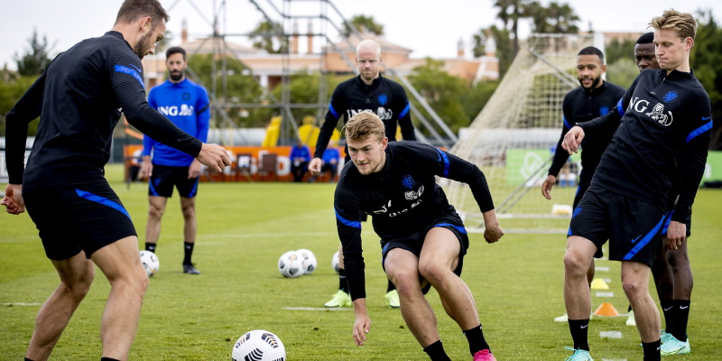Netherlands players in training ahead of Euro 2020