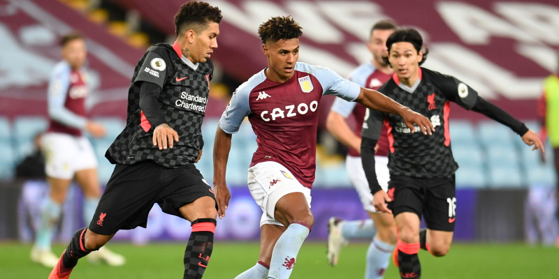 Ollie Watkins takes on two Liverpool players in Aston Villa's 7-2 win in October; Spin Sports Blog