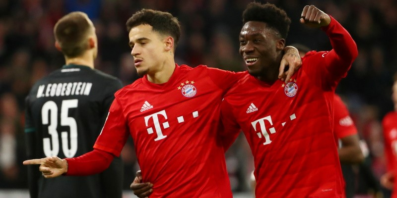 Philippe Coutinho and Alphonso Davies celebrate against Werder Bremen; Spin Sports Blog
