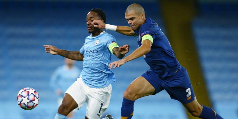 Manchester City forward Raheem Sterling in action against Porto's Pepe