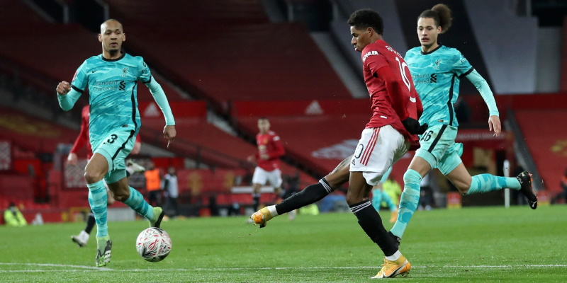 Marcus Rashford scores for Manchester United against Liverpool in January
