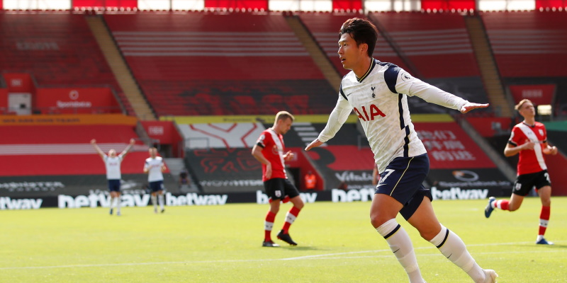 Son Heung-min celebrates scoring one of his four against Southampton in September