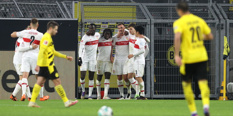 Stuttgart celebrate their big win over Dortmund in December; Spin Sports Blog