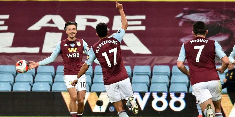 Aston Villa's Trezeguet celebrates his winner against Arsenal