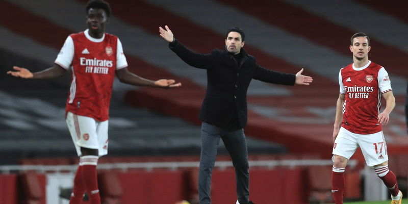 Arsenal manager Mikel Arteta with Thomas Partey and Cedric Soares; Spin Sports Blog