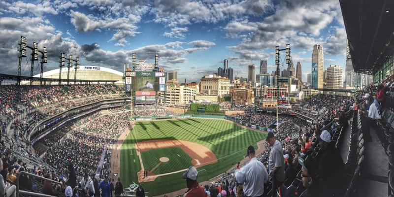 Panoramablick über ein Baseball-Stadion in den USA.