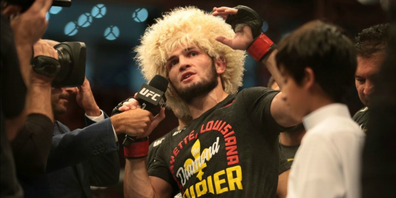 Nurmagomedov talks with reporters after the fight