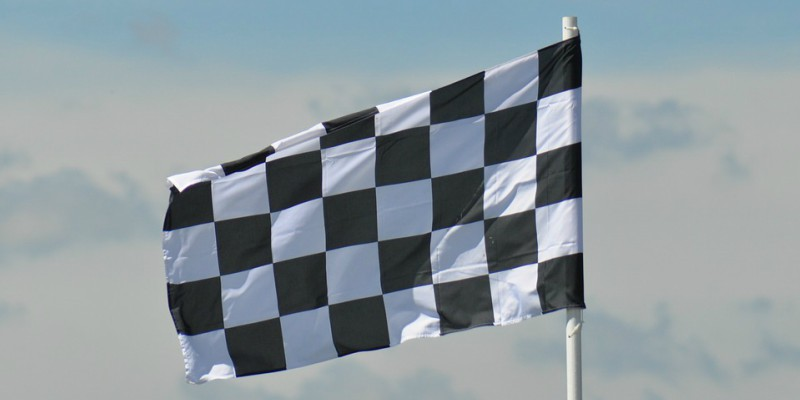 Black and white car racing flag