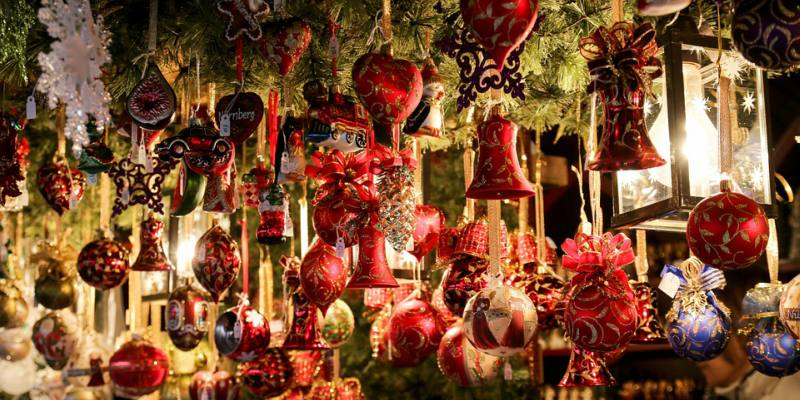 Christmas decorations at a market stall