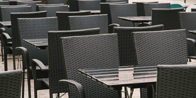 Empty chairs outdoor seating