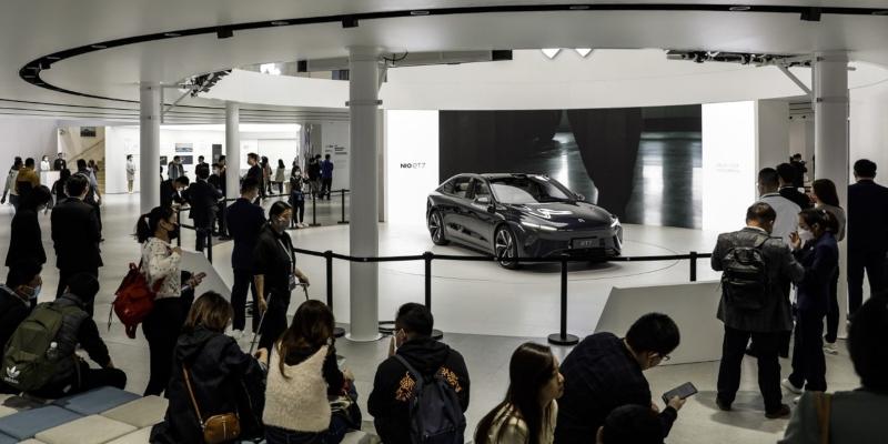 Nio ET7 model displayed at the Shanghai Auto Show 2021