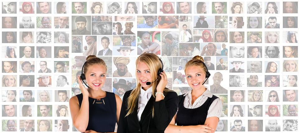 three female call center assistants