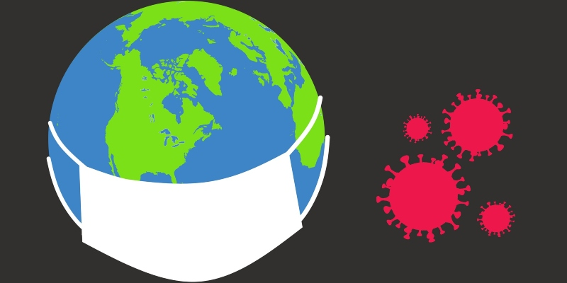 The earth wearing  a mask and virus icons against it