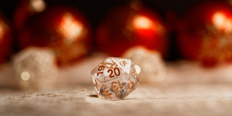 Golden Christmas dice