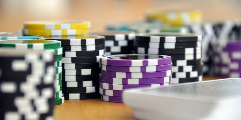 Poker chips and a deck of cards