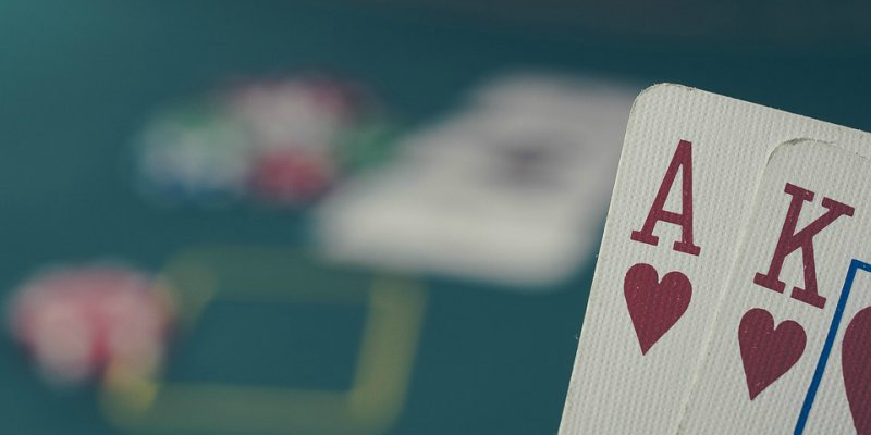 Poker cards ace and king of hearts